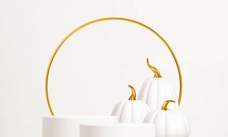 3d realistic white gold pumpkin with white product podium isolated on white background. Thanksgiving background with the product stage, pumpkins and Give Thanks inscription. Vector illustration