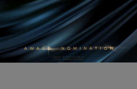 Awards ceremony luxurious black wavy background with golden text. Black silk luxury background. Vector illustration 向量圖像