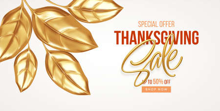 Thanksgiving or fall discount sale banner with falling gold leaves. Autumn sale backdrop with golden leaves. Vector illustration 向量圖像