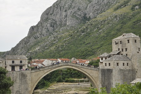 Old pedestrian arch bridge across the Neretva River in Mostar, Bosnia and Herzegovina