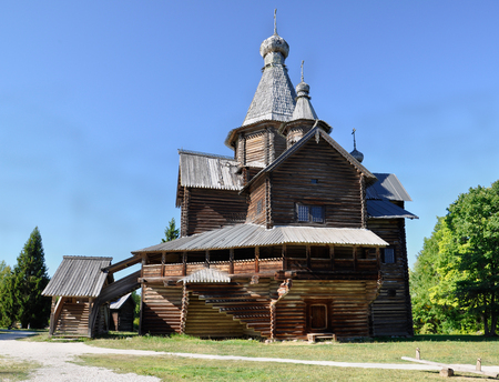 Wooden church in Veliky Novgorod on a summer day, Russia. Stock Photo