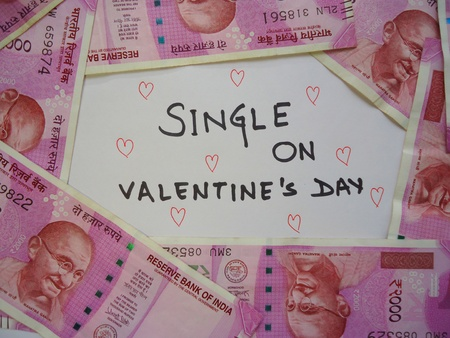 Artistic depiction of Singles on Valentines Day. Stock Photo