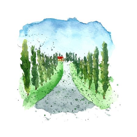 landscapes: Watercolor Italy Tuscany. Hand drawn painting landscape.
