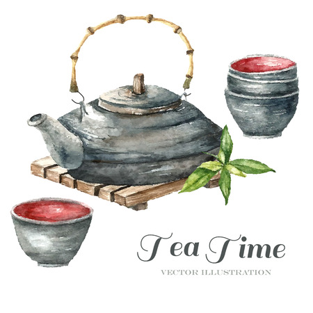 ceremony: Watercolor Vintage teapot on tea table, two cups of tea and green tea. Illustration