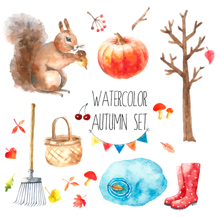 Watercolor autumn cartoon set. Hand drawn isolated illustration on white background.