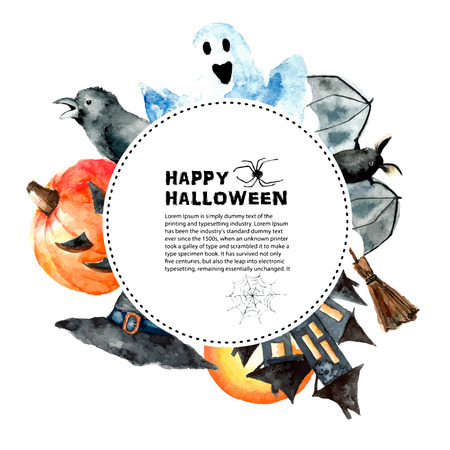 halloween background: Watercolor Halloween set.Hand painting halloween symbols isolated on white background. Stock Photo