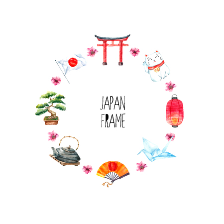japanese: Watercolor Japanese frame. Round frame with hand draw Japanese objects:Torii gate,origami bird,Japan flag,lacky cat,Japanese lantern, bonsai tree.