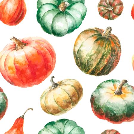 pumpkin patch: Watercolor pumpkin. Hand drawn painting seamless pattern. Stock Photo