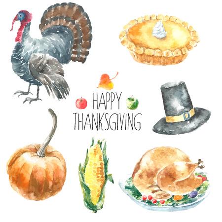 thanksgiving family: Watercolor thanksgiving day set. Hand drawn cartoon illustrations Stock Photo