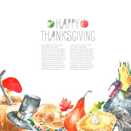 水彩の感謝祭の日を設定します。手には、丸いフレームのイラストが描かれました。