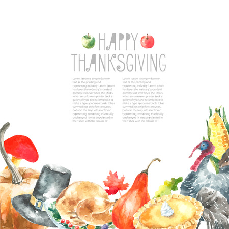 thanksgiving art: Watercolor thanksgiving day set. Hand drawn round frame illustrations. Stock Photo