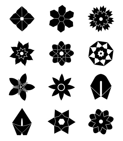 Set of flat black flower icons in silhouette vector