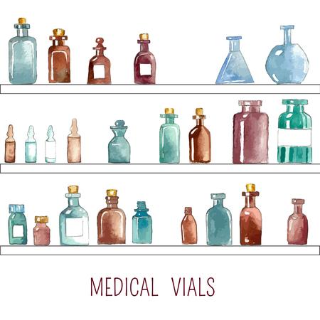 fiole: Ensemble de l'aquarelle ic�nes m�dicaux: bouteille, flacon, flacon, ampoule, ampoule, g�lule.
