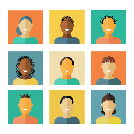 kid portrait: People icons in flat modern style. Vector illustration.