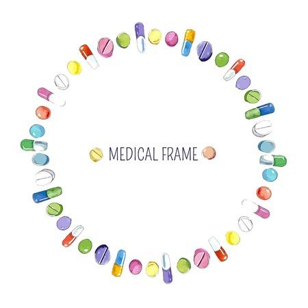 energy healing: Medical frame, watercolor vector. Illustration
