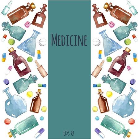 ヘルスケア: 医療の背景: ボトル、瓶、フラスコ、瓶、アンプル、カプセル。  イラスト・ベクター素材