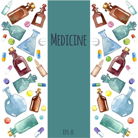 health icons: Medical background: bottle, vial, flask, phial, ampoule, capsule. Illustration