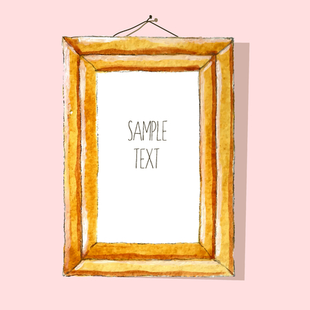 watercolor texture: Watercolor frame with wood texture and place for your text Illustration