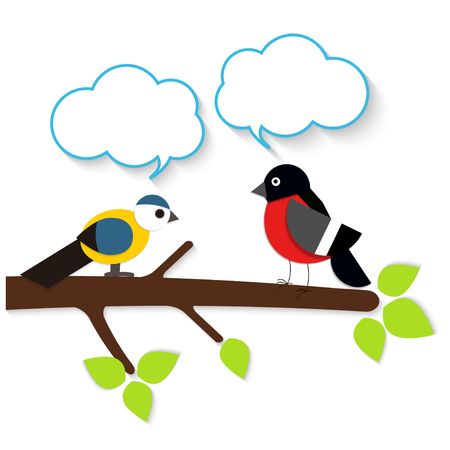 applique: Cartoon applique birds with speech bubbles on white background.