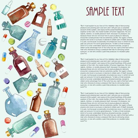 vial: Medical background: bottle, vial, flask, phial, ampoule, capsule. Stock Photo