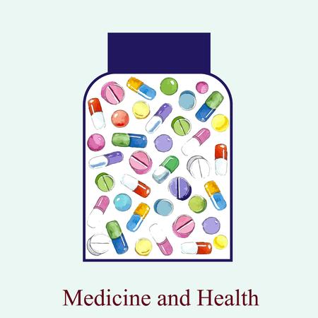medicine bottles: medicine bottles over blue background vector and watercolor illustration