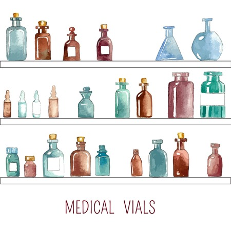 phial: Set of watercolor medical icons: bottle, vial, flask, phial, ampoule, capsule. Stock Photo