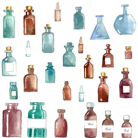 health icons: Set of watercolor medical icons: bottle, vial, flask, phial, ampoule, capsule. Stock Photo