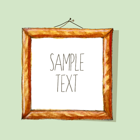 pictured: Watercolor frame with wood texture and place for your text Illustration
