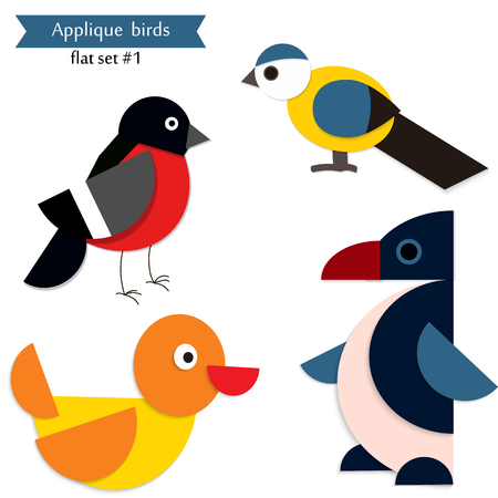 critters: Set of different cute birds. Cartoon applique. Illustration