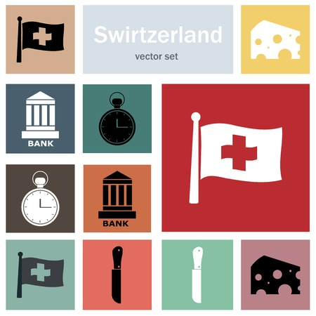 penknife: Switzerland - vector icons, souvenirs and tourism concept illustration Illustration