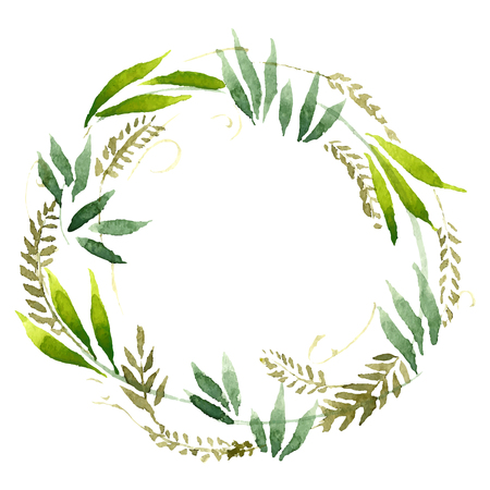 rustic: Watercolor flowers wreath. Hand painted wedding illustration. Vector.