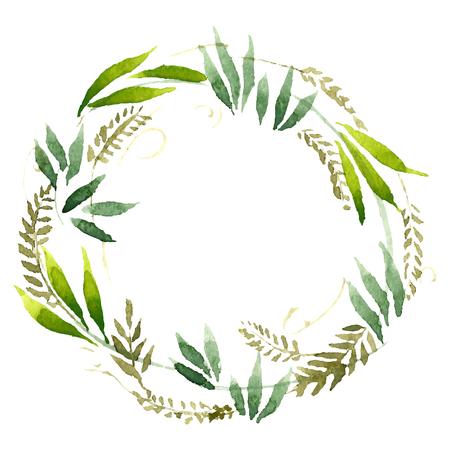 laurels: Watercolor flowers wreath. Hand painted wedding illustration. Vector.