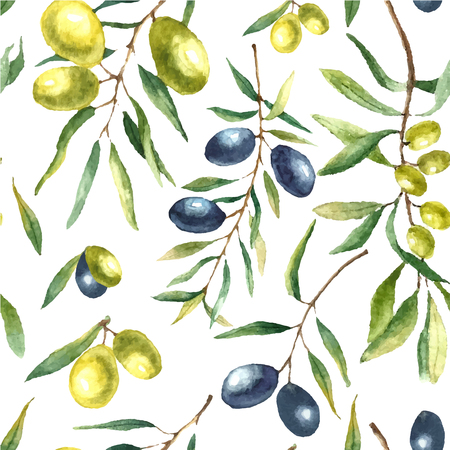 oil crops: Watercolor olive branch seamless pattern. Hand drawn floral texture with natural elements: black and green olives, leaves, and olive branches. Vector illustration. Stock Photo