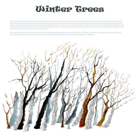 trees silhouette: Watercolor background. Bare winter branches of the trees. Stock Photo