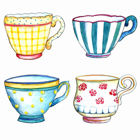 tarde de cafe: Tazas de té de la acuarela en los fondos blancos.