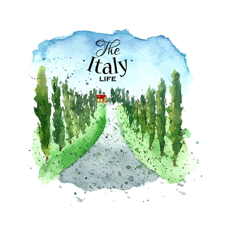 farmhouse: Watercolor Italy Tuscany. Hand drawn painting landscape. Vector illustration.