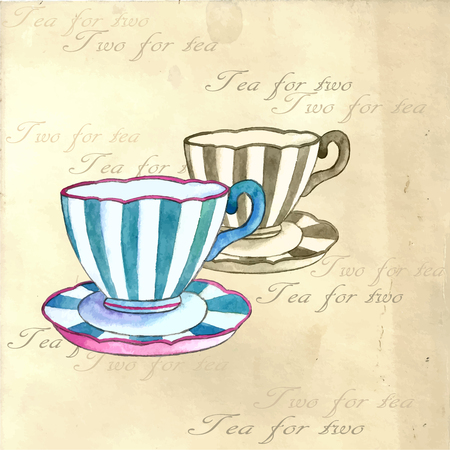 retro backgrounds: Tea cups watercolor on the retro backgrounds. Stock Photo