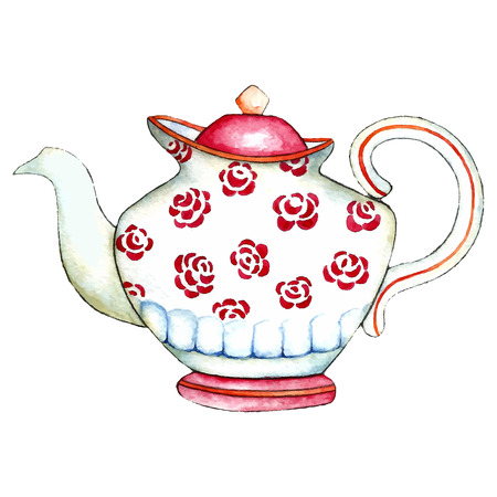 afternoon: Watercolor teapot on the white backgrounds. Vector illustration. Stock Photo