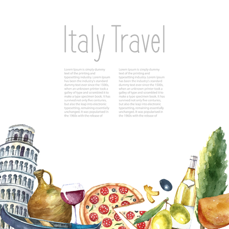 wine and food: Watercolor Italy landmark frame. Hand draw card background with objects: tower of Pisa, pizza, gondola, macaroni, bottle of white wine, clay pot, branch olive, cheese and glass of wine.