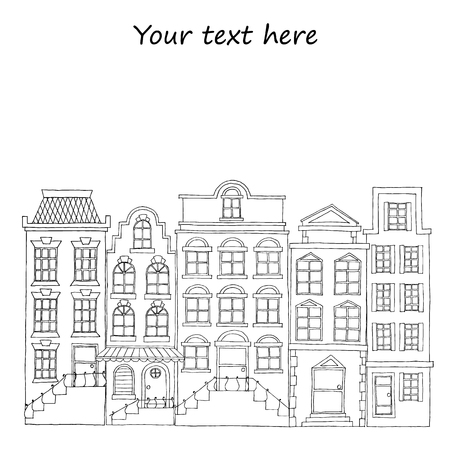 european: European street with houses drawing, hand drawn vector elements