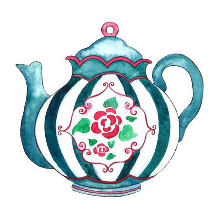 Watercolor teapot on the white backgrounds. Vector illustration. Фото со стока