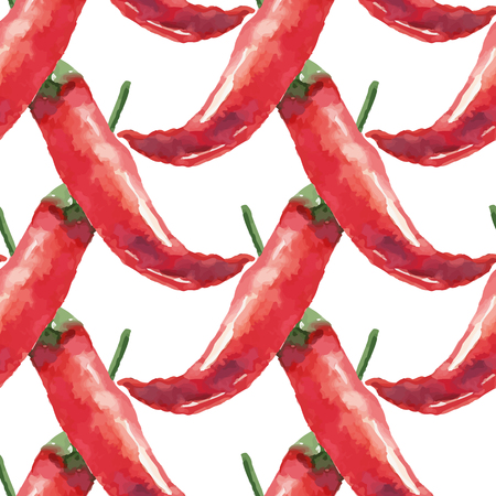 Chilli. Hand drawn watercolor painting on white background seamless pattern. Vector illustration