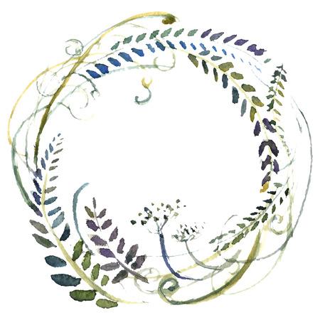 Corona di fiori ad acquerello. Illustrazione di nozze dipinte a mano. Vettore. Archivio Fotografico - 45856863
