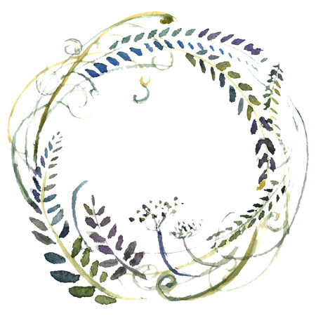 Watercolor flowers wreath. Hand painted wedding illustration. Vector. Stock Illustration - 45856863