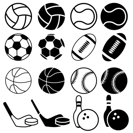 team sport: Set Of Black And White Sports Balls icons. Vector Illustration  Silhouettes.