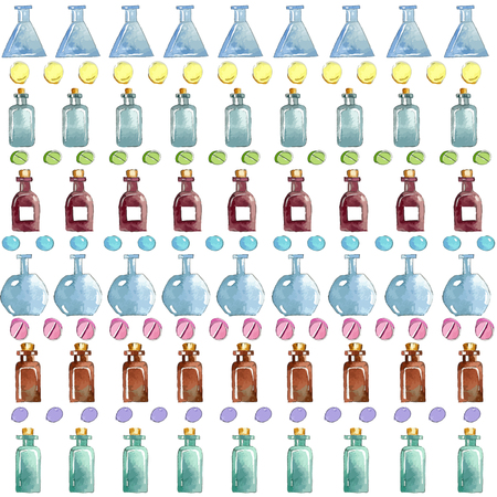 ampoule: Set of watercolor medical icons: bottle, vial, flask, phial, ampoule, capsule.Vector seamless pattern.
