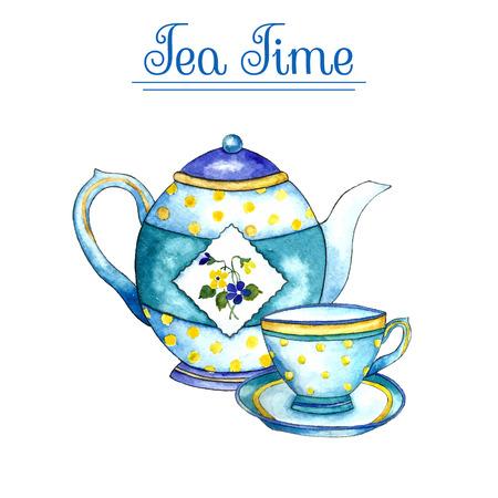 水彩のティーポットと白い背景の上にカップ。ベクトルの図。