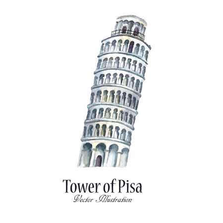 pizza place: Watercolor tower of Pisa. Hand draw vector illustration isolated.