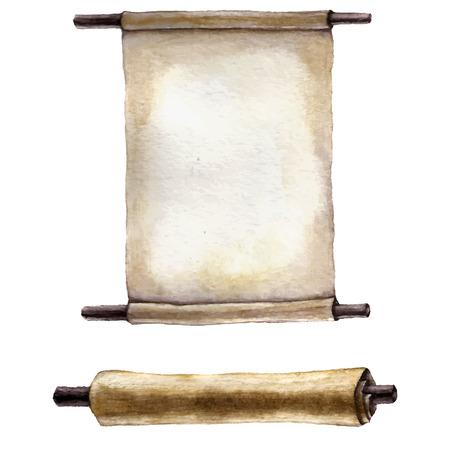 水彩の古いスクロール紙。