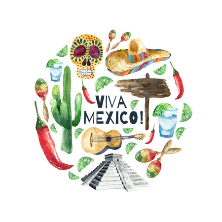 latinoamerica: Travel Concept Mexico Landmark Watercolor Icons Design .Vector Illustration.